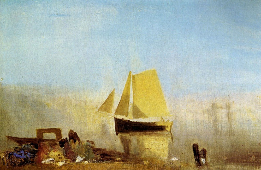 100% Hand Painted Oil on Canvas - Fishing boat in a mist by Joseph Mallord Tu...