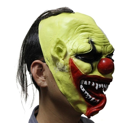 7 Pack - Green Full Face Clown Styled Halloween Party Masquerade Mask