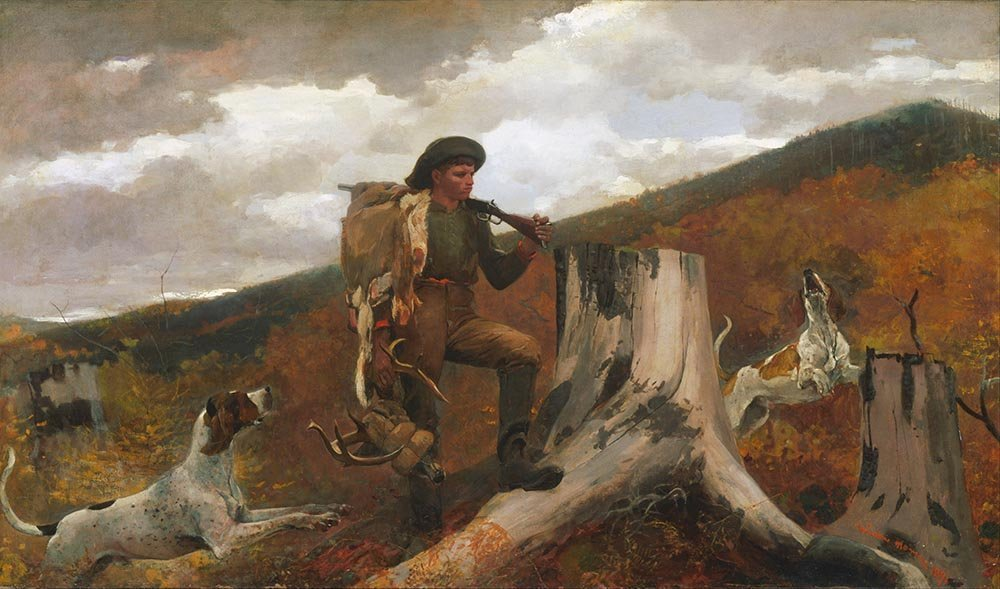 100% Hand Painted Oil on Canvas - Homer - A Hunter and his Dogs - 24x36 Inch