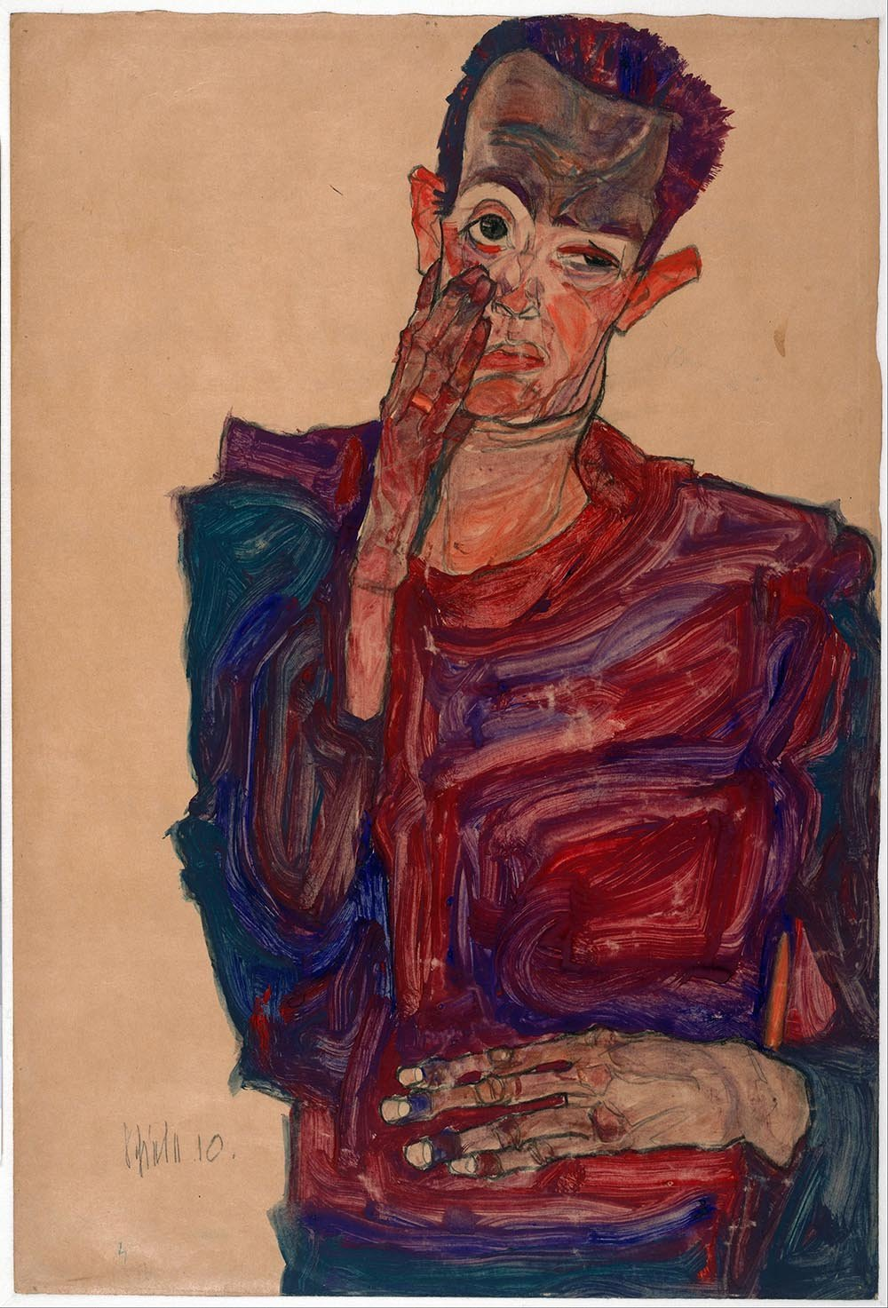 100% Hand Painted Oil on Canvas - Egon Schiele - Self portrait with eyelid pu...
