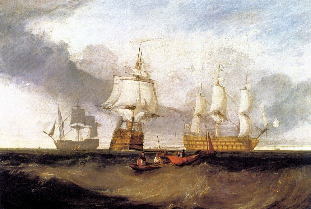 100% Hand Painted Oil on Canvas - Victory in Trafalgar by Joseph Mallord Turn...
