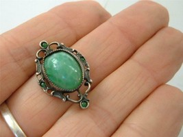 Antique Victorian Sterling Silver Green Peking Glass Jade Brooch Pin Dai... - $24.74