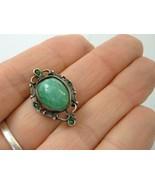 Antique Victorian Sterling Silver Green Peking Glass Jade Brooch Pin Dai... - $24.74