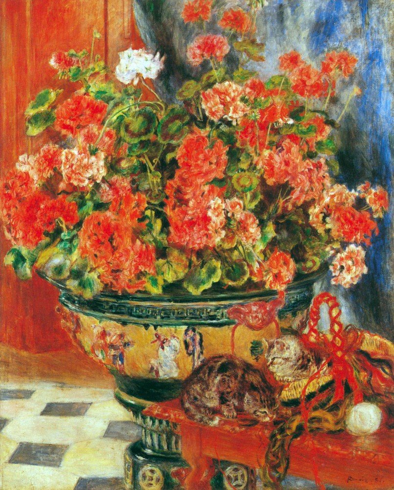100% Hand Painted Oil on Canvas - Geraniums and cats by Renoir - 30x40 Inch