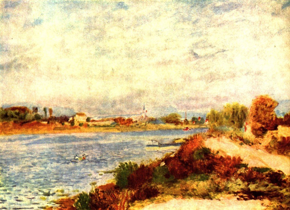 100% Hand Painted Oil on Canvas - Seine in Argenteuil by Renoir - 30x40 Inch