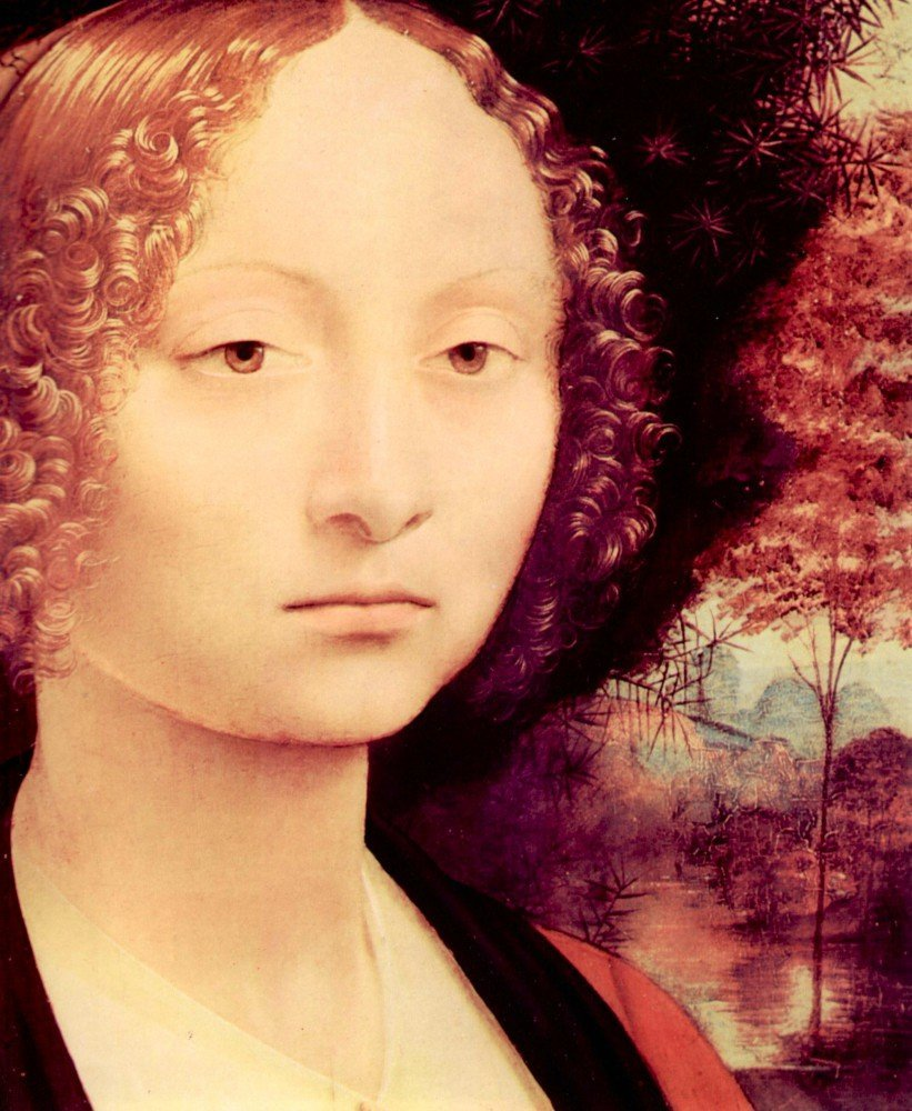 100% Hand Painted Oil on Canvas - Portrait of a Dame (Ginevra Benci) Detail b...