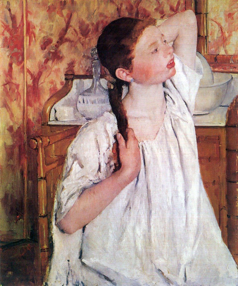 100% Hand Painted Oil on Canvas - Girl arranging her hair by Cassatt - 30x40 ...