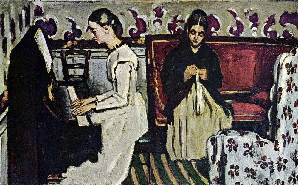 100% Hand Painted Oil on Canvas - Girl at Piano by Cezanne - 30x40 Inch