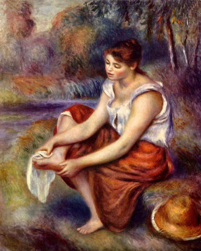 100% Hand Painted Oil on Canvas - Girl dryes her feet by Renoir - 30x40 Inch