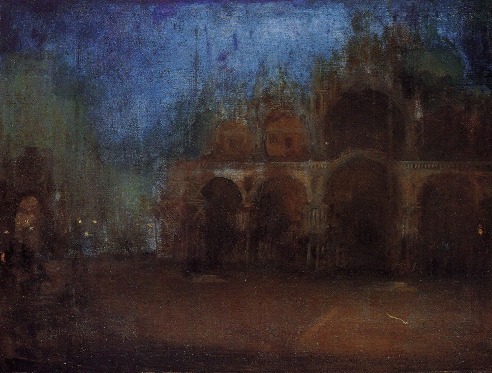 100% Hand Painted Oil on Canvas - Nocturne, Blue and Gold, Saint Marks, Venic...