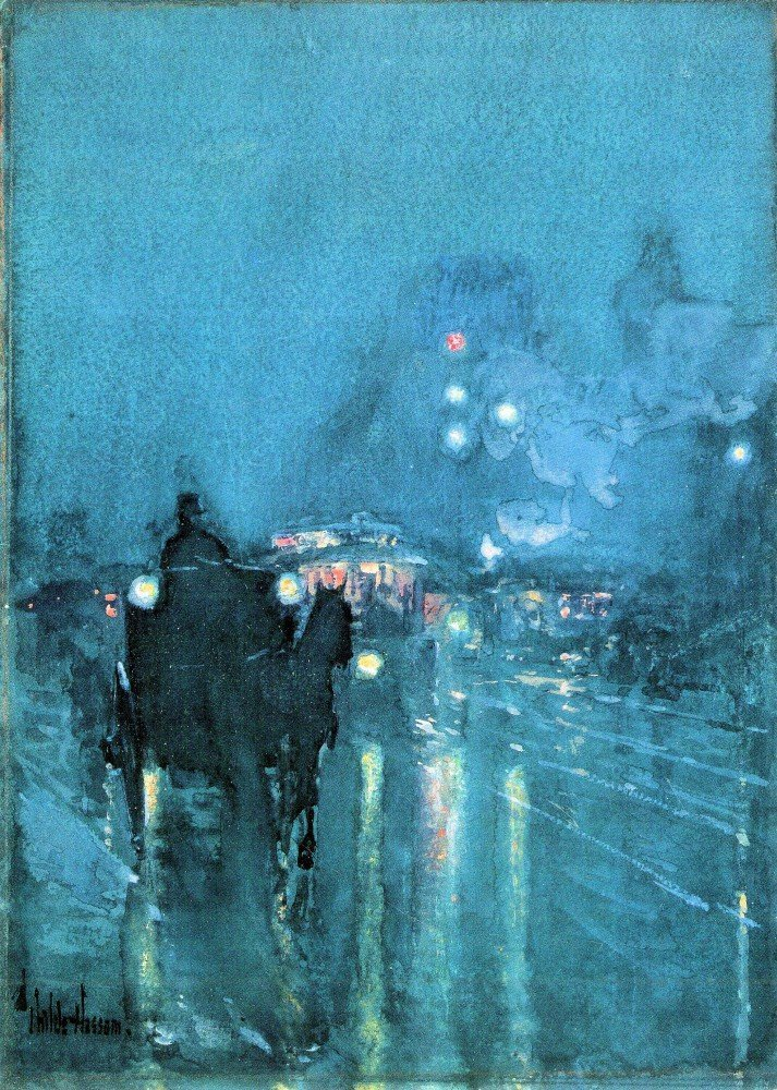 100% Hand Painted Oil on Canvas - Nocturne, Railway Crossing, Chicago by Hass...