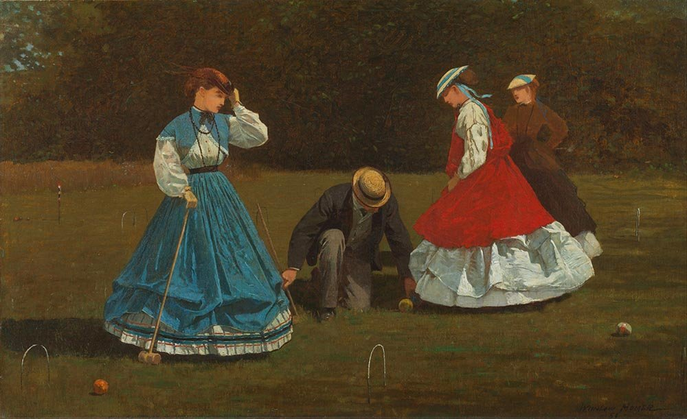 100% Hand Painted Oil on Canvas - Homer - Croquet Scene - 24x36 Inch