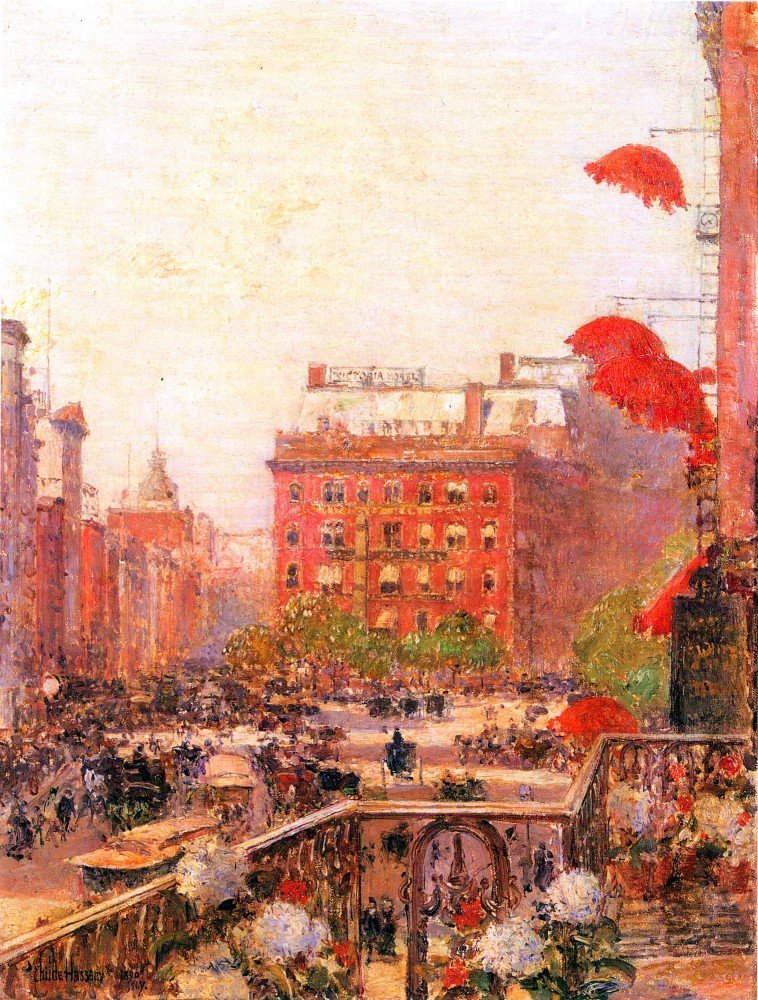 100% Hand Painted Oil on Canvas - Broadway and Fifth Avenue by Hassam - 30x40...
