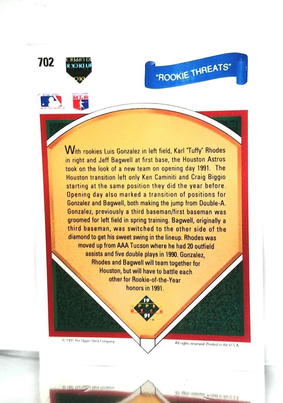 1991 Upper Deck #702 Rookie Threat Astros Bagwell ROOKIE HOF 9.5 MINT+