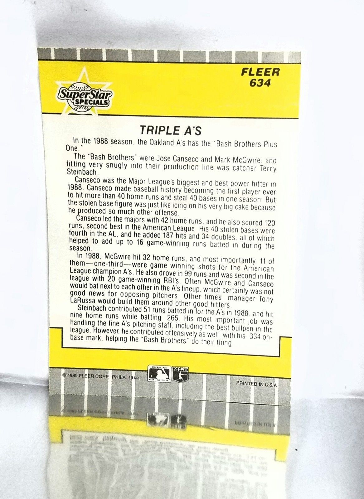1989 Fleer # 634 Triple A's Canseco, McGwire & Steinbach SuperStar Specials NM+