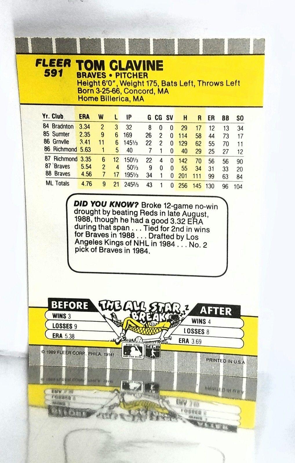 1989 Fleer #591 Tom Glavine, HOF Pitching Ace Atlanta Braves, 2nd Yr Card NM-MT