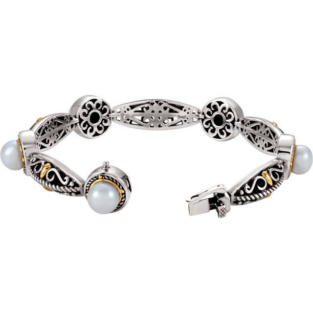 Freshwater Cultured Pearl Bracelet In Sterling Silver & 14K Yellow Gold