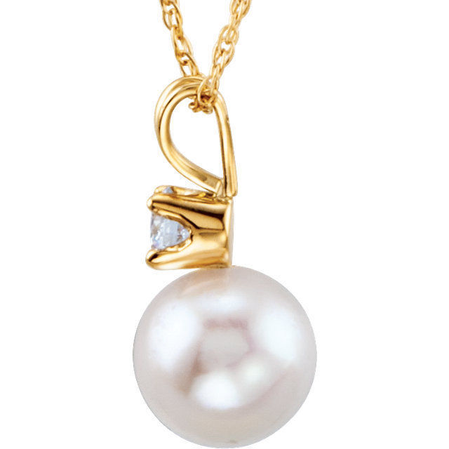 Akoya Cultured Pearl & 1/10 Diamond Necklace In 14K Yellow Gold
