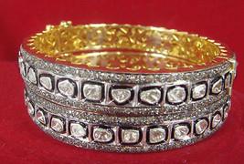 Victorian Inspire 3.50 Ctw RoseCut 6.10 CT Polky Diamond Silver Bangle/B... - $1,199.54