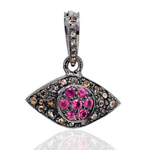 Evil Eye Vintage Reproduction 1.00Ct Rose Cut Diamond 925 Silver Pendant... - $209.35