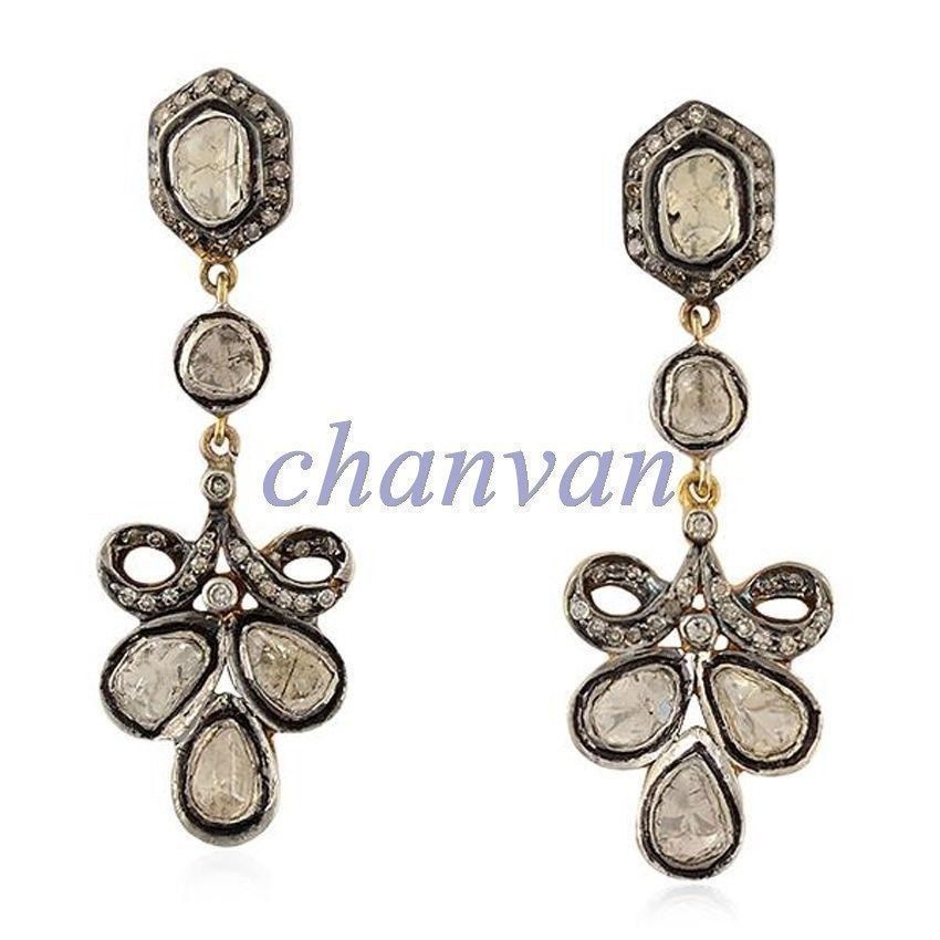 Primary image for Vintage/Antique/Victorian 2.40 Rose Cut/Polky Diamond Sterling Silver Earring