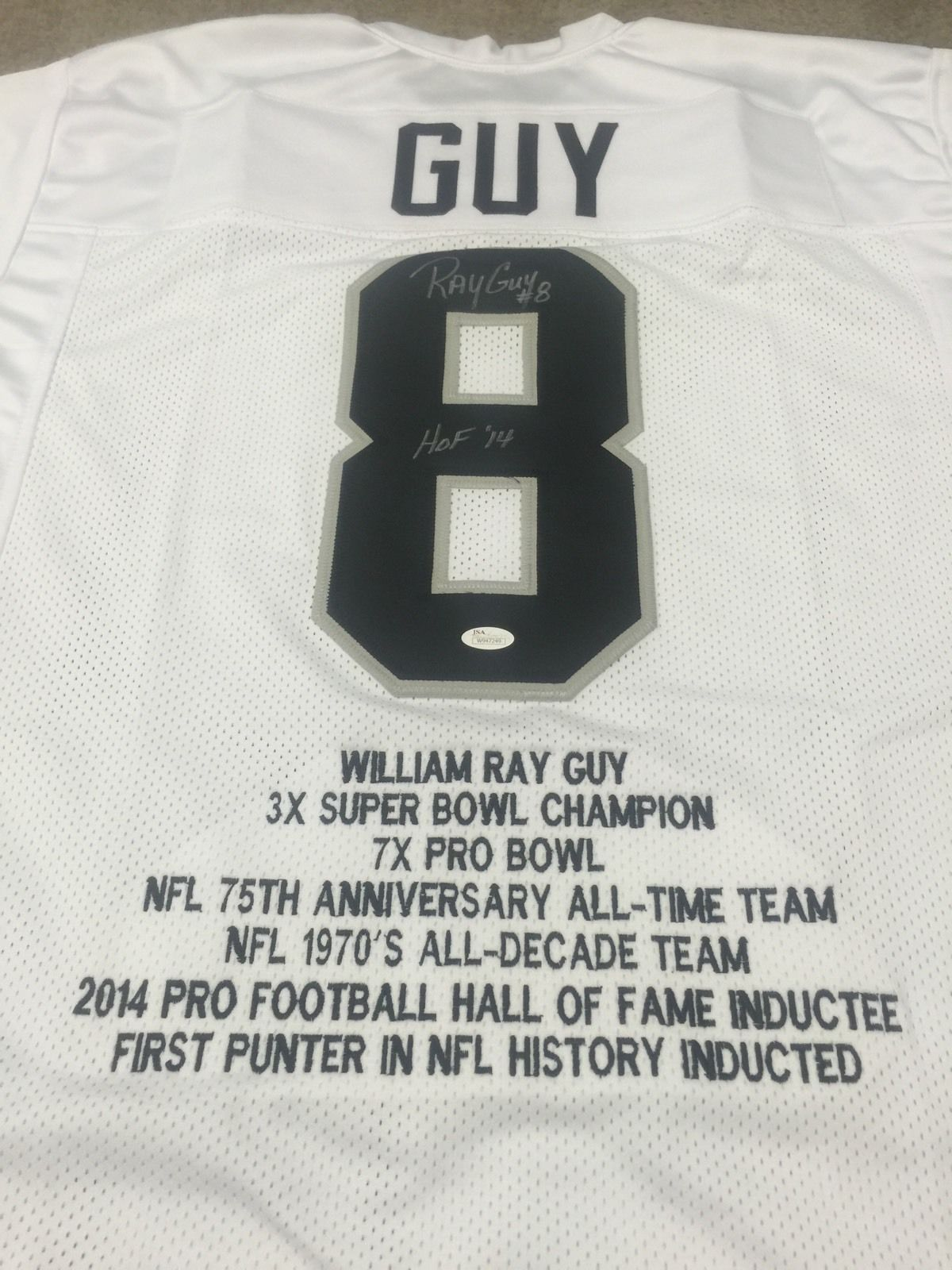 RAY GUY  AUTOGRAPHED OAKLAND RAIDERS JERSEY JSA COA