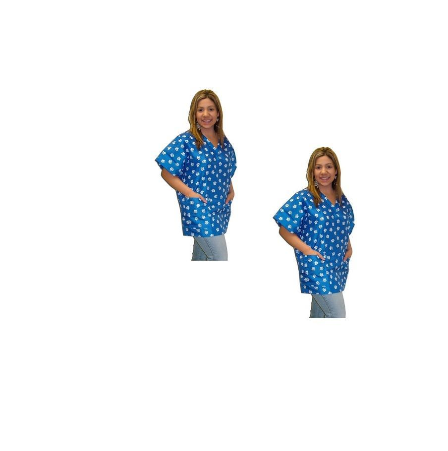 Primary image for Nylon Pattern GroomingScrub Top - Blue w Paws - S to XL Hair & Water Repellent