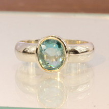 Cambodian Light Windex Blue Zircon Handmade Silver Unisex Solitaire Ring size 9 - £58.82 GBP
