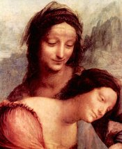 100% Hand Painted Oil on Canvas - Anna Selbdritt 2 detail by Da Vinci - 30x40... - $404.91