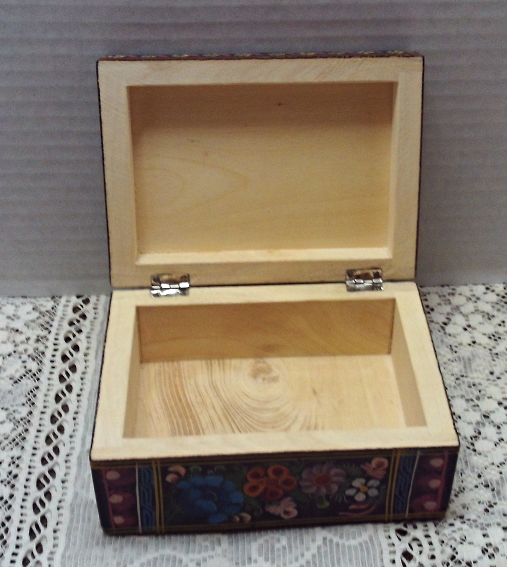 Vintage Hand Painted Wood Jewelry Stash Trinket Box Bright Flowers