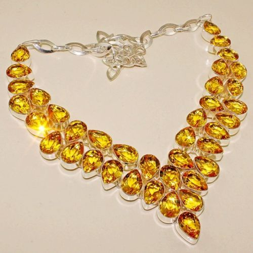 Primary image for Sale, Beautiful Citrine Necklace, 925 Silver Overlay, Prom, Wedding