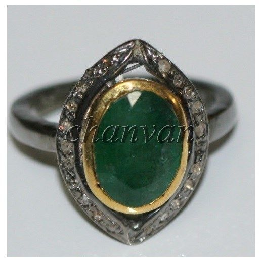 Primary image for Vintage/Antique Inspire Artisan Rose Cut Diamond 925 Silver Emerald Ring @CSJ75