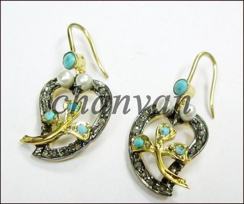 Primary image for Antique Insp. 0.60C Rose Cut Diamond 925 Silver Turquoise/Pearl Stud @CSJ0021