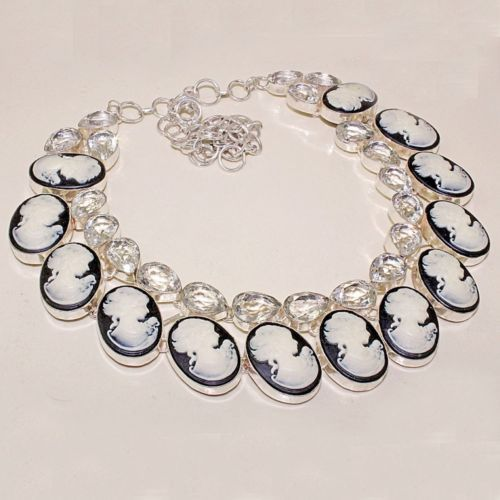 Primary image for Very Beautiful Clear Topaz and Cameo Necklace, 925 Silver Overlay, Prom