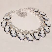 Very Beautiful Clear Topaz and Cameo Necklace, 925 Silver Overlay, Prom - $76.00