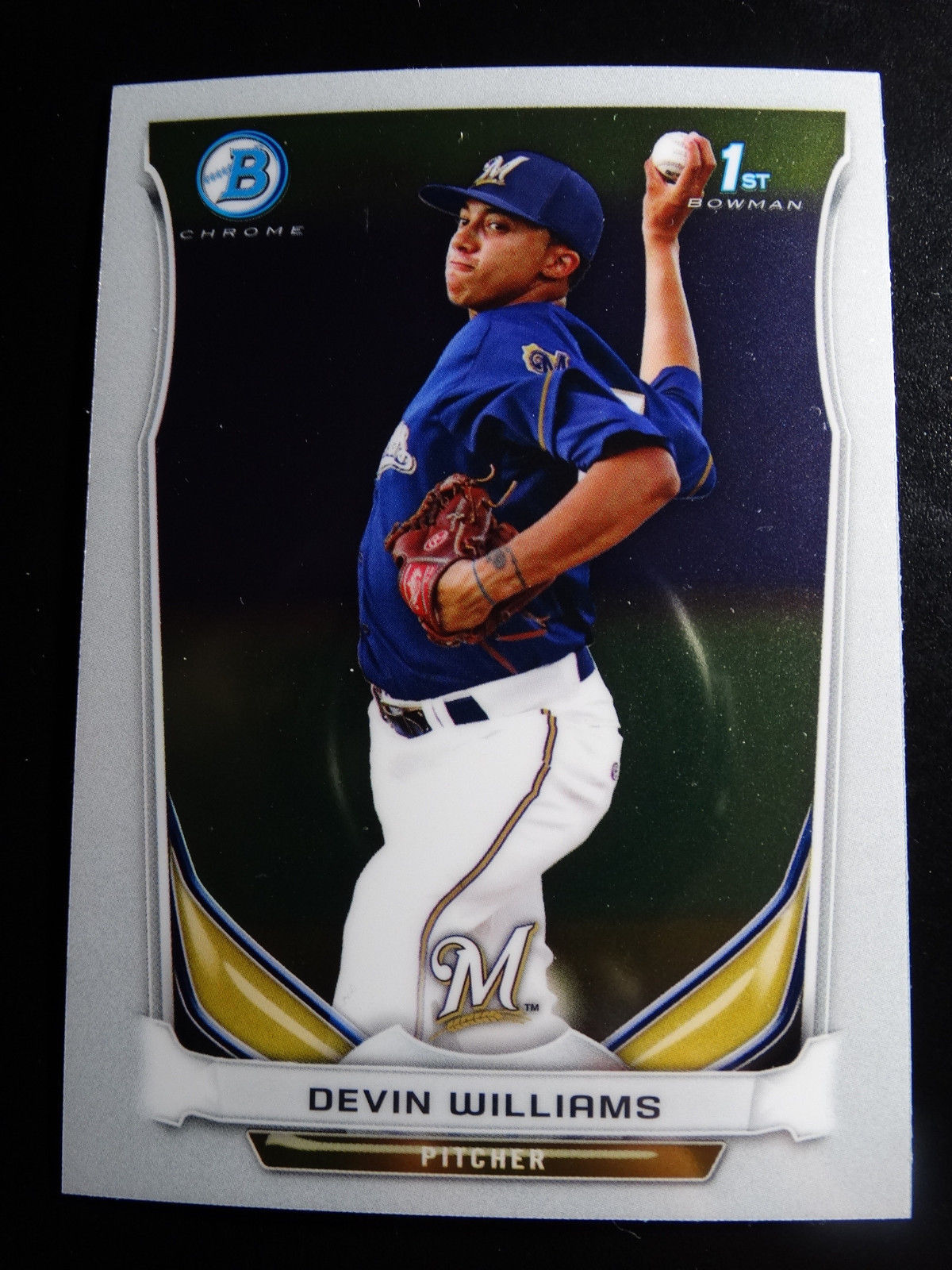 Primary image for 2014 Bowman Chrome #BCP7 Devin Williams Milwaukee Brewers Baseball Rookie Card