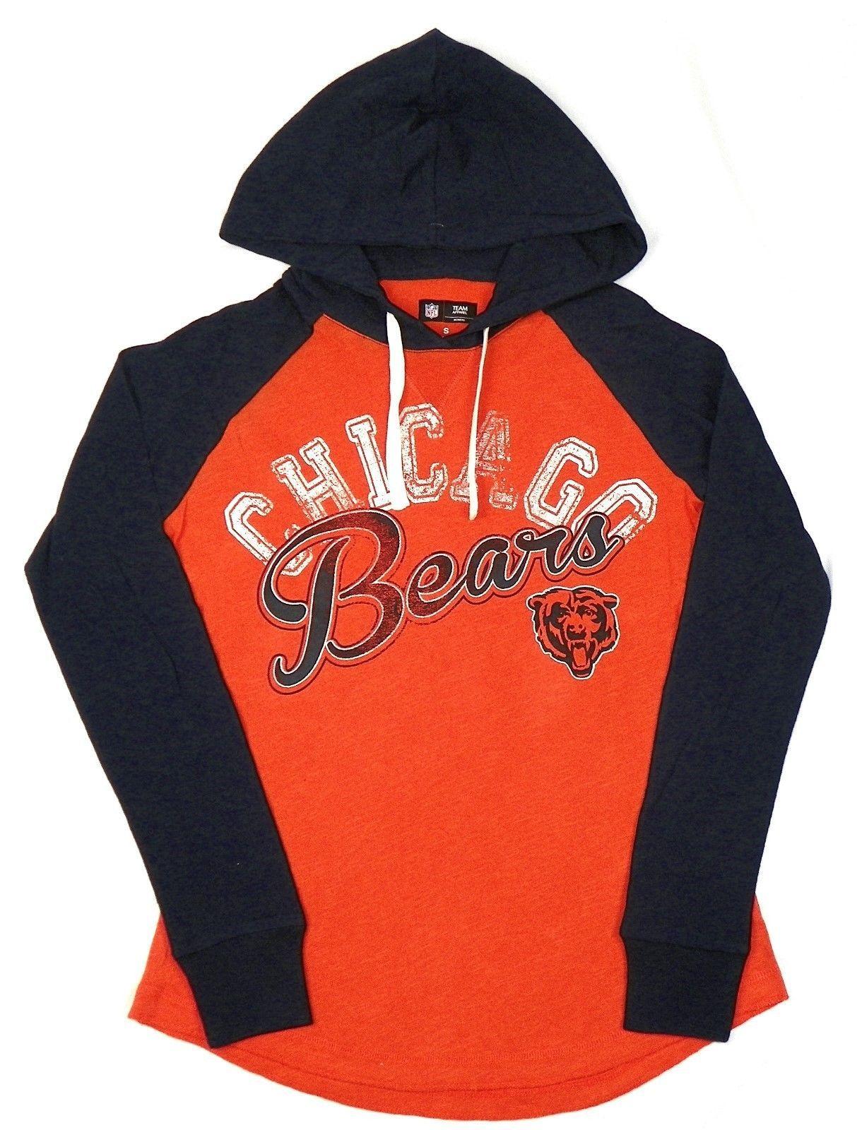 Chicago Bears Women's Hoodie Tee NFL Pump Fake Hooded Long Sleeve Shirt