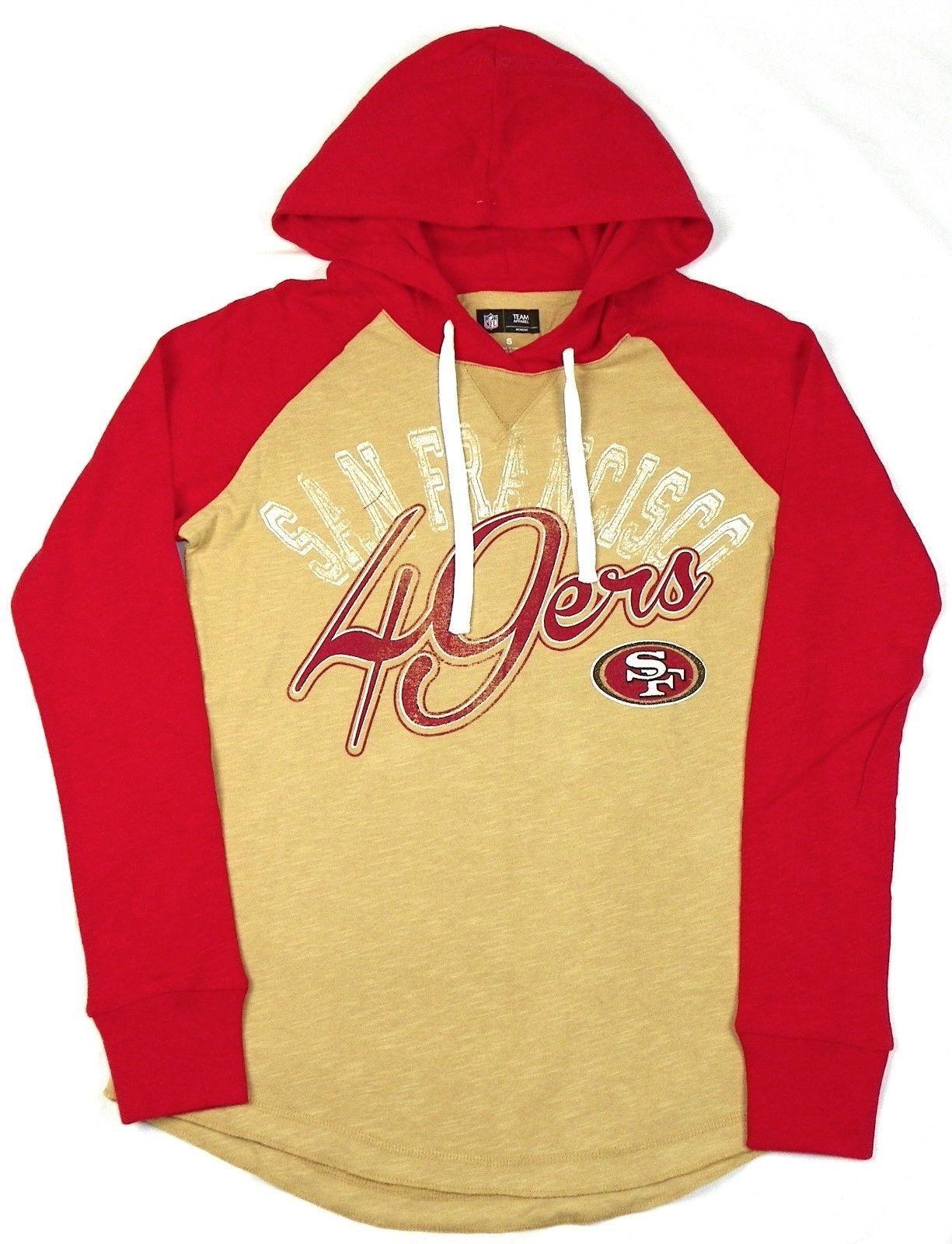 San Francisco 49ers Women's Hoodie Tee NFL Pump Fake Hooded Long Sleeve Shirt