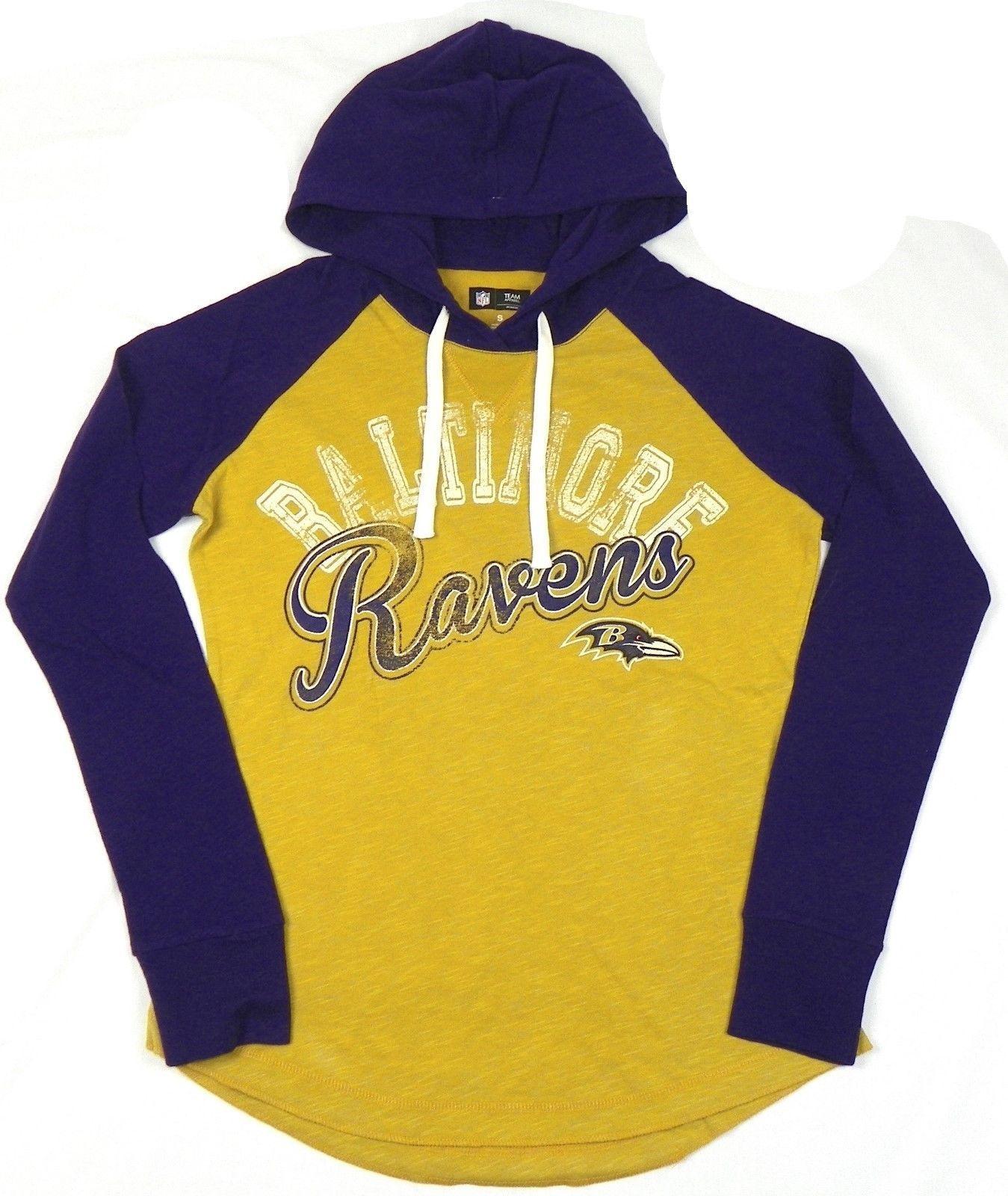 Baltimore Ravens Women's Hoodie Tee NFL Pump Fake Hooded Long Sleeve Shirt
