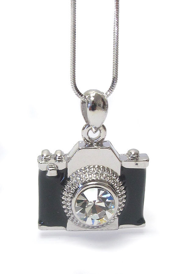 Primary image for Black Enamel Miniature Camera Charm Clear Crystal Lens Photo Silver Necklace