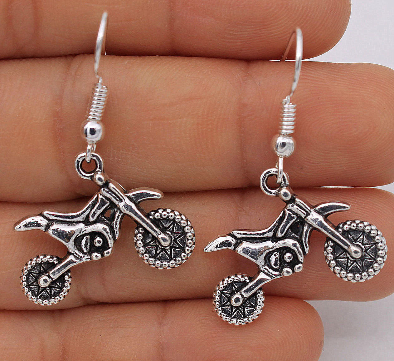 Primary image for SILVER PLATED SCOOTER BIKE EARRINGS  >> WE COMBINE SHIPPING << (418)