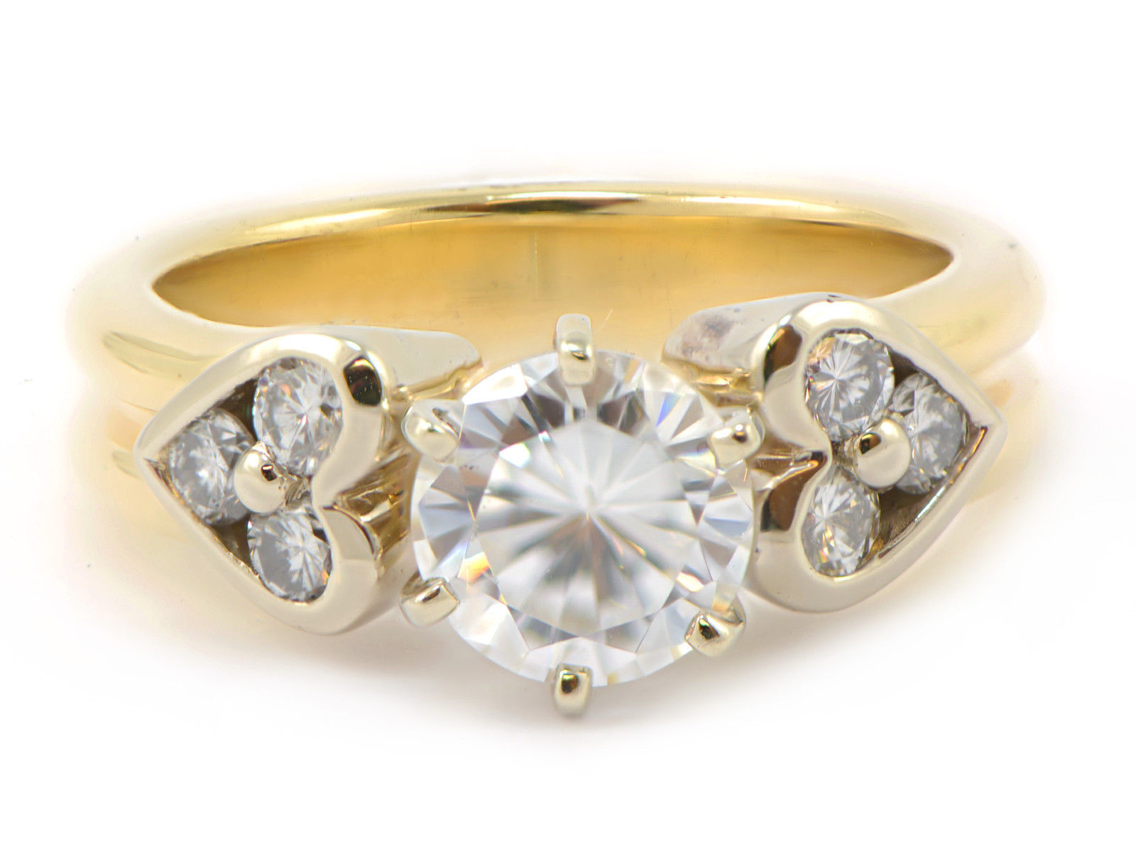 Primary image for Round Engagement Semi-Mount Ring Hearts 14k Yellow Gold .30ct SI1/G Size 7