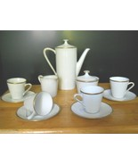 1940's Bavarian Porcelain Gold Trim Demitasse Coffee 13 PC. Set from W. ... - $185.75