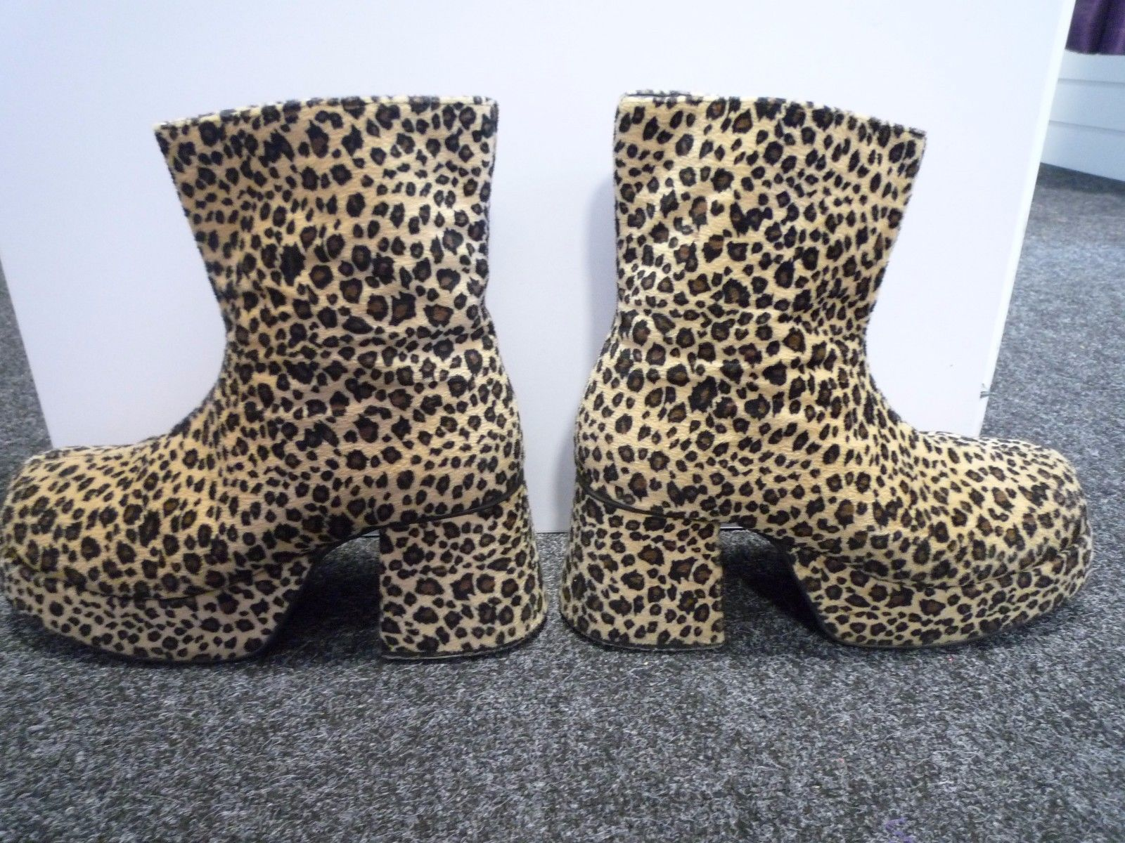 Primary image for Gents Leopard Fur  Platform Boots - 70's style - UK size 13