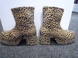 Gents Leopard Fur  Platform Boots - 70's style - UK size 13 - $115.06
