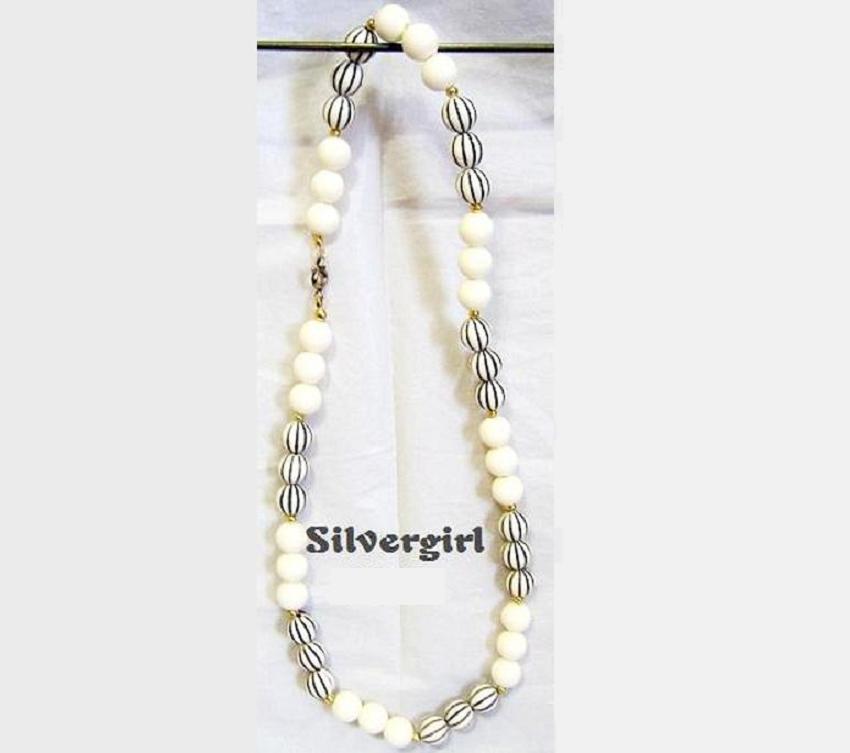Vintage Off White Black Plastic Beaded Necklace Unbranded