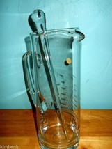 Handcrafted Poland Glass Pitcher w/Sailboat Etching and Glass Stir Rod  - $60.78