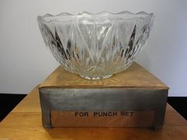 """Williamsport-Hazel Atlas"" Crystal Diamond Cut Square Edge Punch Bowl Set - $129.97"