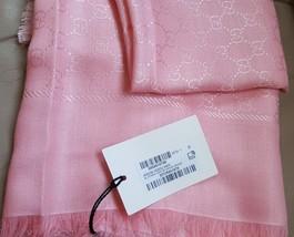 "NWT GUCCI pink GG pattern wool/ silk X-large scarf shawl 55"" x 55""; Rtl ... - $435.19"