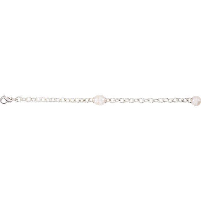 Freshwater Cultured Pearl Bracelet In Sterling Silver